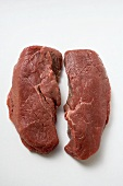 Two slices of beef sirloin