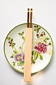 Chinese plate and chopsticks