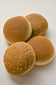 Hamburger rolls with and without sesame