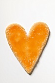 Glazed and sugared heart-shaped biscuit