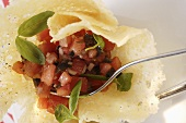 Tomato salsa in Parmesan wafer