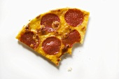 Piece of salami and cheese pizza, bites taken