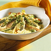 Salmon and asparagus gratin