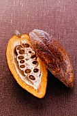 Cacao pod, halved, on brown background