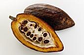 Cacao pod, halved