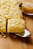 Bee sting cake with flaked almonds, bee and honeycomb