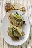 Chicken liver terrine with asparagus & sage on bread (Veneto)