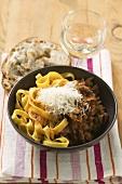 Saffron ribbon pasta with mince ragout
