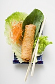 Spring roll on salad (China)