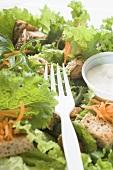Blattsalat mit Möhren, Croutons und Saure-Sahne-Dressing