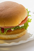 Chicken burger with tomato, lettuce, mayonnaise & ketchup
