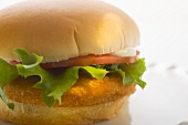 Chicken burger with tomato, mayonnaise and lettuce