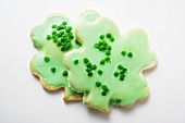 Shamrock biscuits with green icing for St. Patrick's Day
