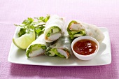 Rice paper rolls with giant river prawns and chili sauce