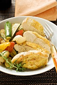 Fried chicken breast with mixed vegetables