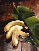 Three bananas on banana leaf
