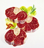 Three slices of beef from the leg