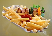 Shashlik with chips