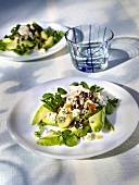Avocado salad with dried fruit and watercress