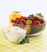 Jam-making ingredients: preserving sugar and fruit