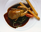 Quail with balsamic sauce & breadsticks
