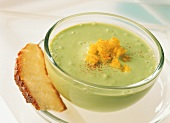 Creamed avocado soup with diced mango