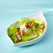 Shrimp salad in a boat