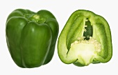 One whole and one half green pepper