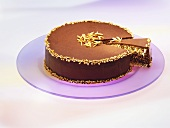 Chocolate nut cake with slivered almonds, a slice cut