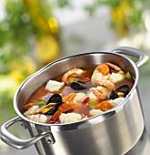 Bouillabaisse (fish soup, France) in pan