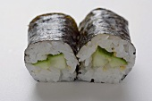 Two maki sushi with cucumber