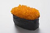 Gunkan sushi with tobiko (flying fish caviar)