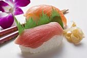 Nigiri sushi with tuna and salmon and preserved ginger