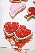 Red and pink heart-shaped biscuits