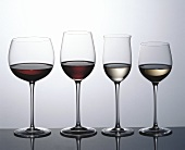 Red wine and white wine, two glasses of each