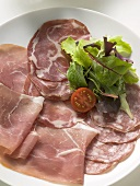Various types of Italian ham with salad garnish