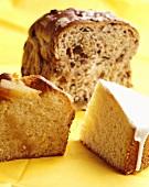 Lemon cake, apple cake and nut bread