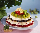 Rainbow jelly (Layered vanilla blancmange and berry jelly)