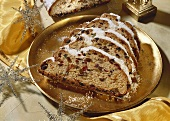 Butter stollen with almonds and candied fruit