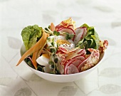 Mixed salad with egg and herbs