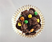 Chocolate cornflake crispies with coloured chocolate beans