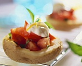 Potato with tomato and pepper filling and lemon mayonnaise