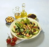 Avocado salad with apple slices and garlic croutons