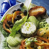 Farmer's salad with herb sheep's cheese