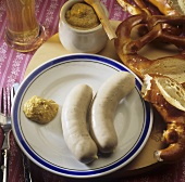 Weisswurst (white sausages) with sweet mustard and pretzel
