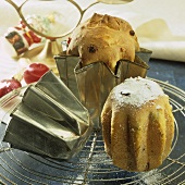 Two small panettone (yeasted cakes) for Christmas