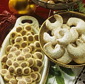 Vanilla crescents & two-colour Christmas tree biscuits
