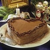 Heart-shaped chocolate cake for Christmas