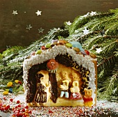 Gingerbread house (made from sponge mixture)