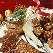 Chocolate nougat slices and small chocolate squares